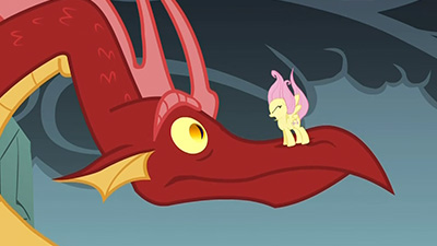 That dragon's EYE is as big as you are, Fluttershy. You got guts, girl.