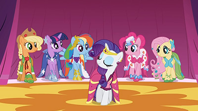 I'll admit I wouldn't know high fashion if it came and kicked me in the face. But I know one thing: these ponies are cute in dresses.