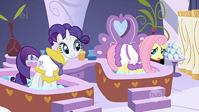 Not gonna lie, I love how Fluttershy's spa treatment is so delicate and gentle. A rough treatment like Rarity's would just not match her character.
