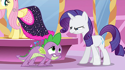 Rarity is not impressed with your act of devotion, Spike.