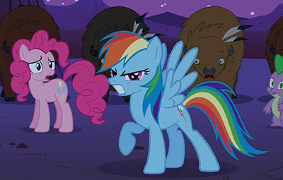Badflank pose #3. Everypony/buffalo/dragon is concerned that Dashie's angst level might be over nine thousand.