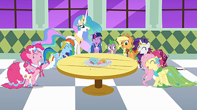 Oh man, we're totally going to be in SO much trouble when Princess Celestia finds out what we did. Wait, she's standing right behind me? That's hilarious! Pass me another doughnut, mare!