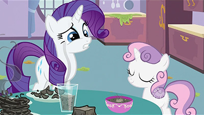 I just realized this screenshot seems to portray Rarity's mascara running down into the glass... because, you know, mascara is a great topping for liquid toast.