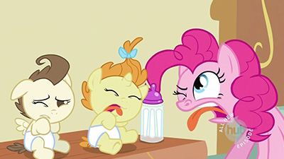 Nice try, foals, but Pinkie wins this round of Best Face.