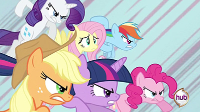 Poor Hub logo: AJ, Twilight, Pinkie, and Rarity are all dead-set on tearing you a new one.