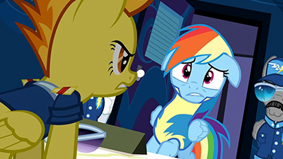 Spitfire's irritation and Dashie's injured pride are captured so well in this scene. You know what else is captured so well? That guy's mustache. That's a seriously suave stache that stallion is rockin'.