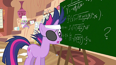 Twilight's chalkboard involves too much Lorentz transformation and not enough of the usual vector calculus we see on Cheerilee's chalkboard.